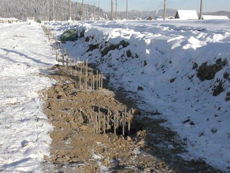 Участок для бетонирования на морозе