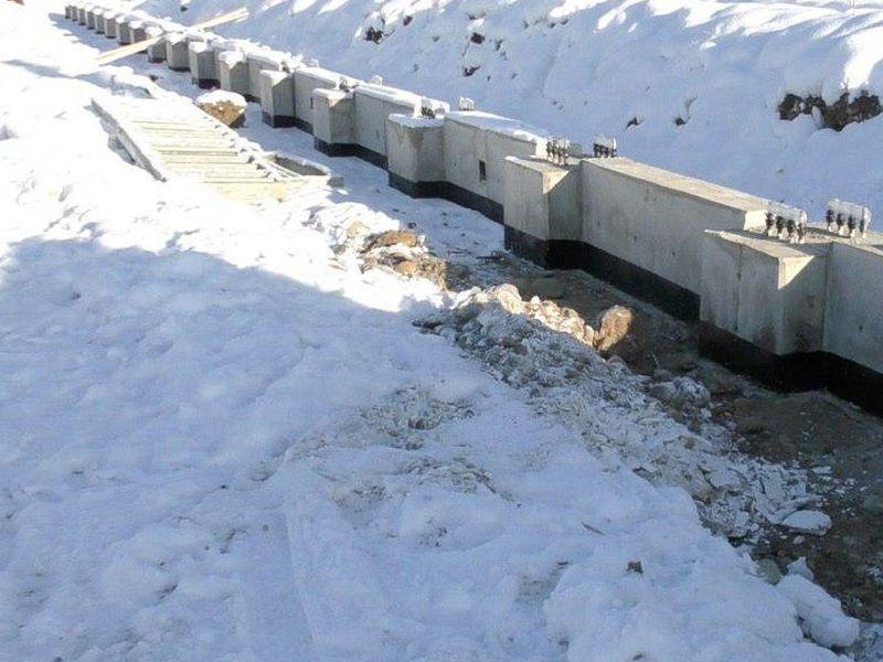 Выполнено бетонирование на морозе